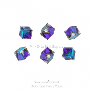 Swarovski Fancy Cube – Heliotrope crystals pink diva nail supply